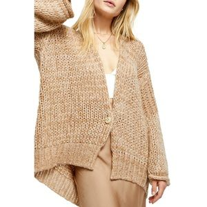 Free People Home Town Cardigan Tan One Button NWOT